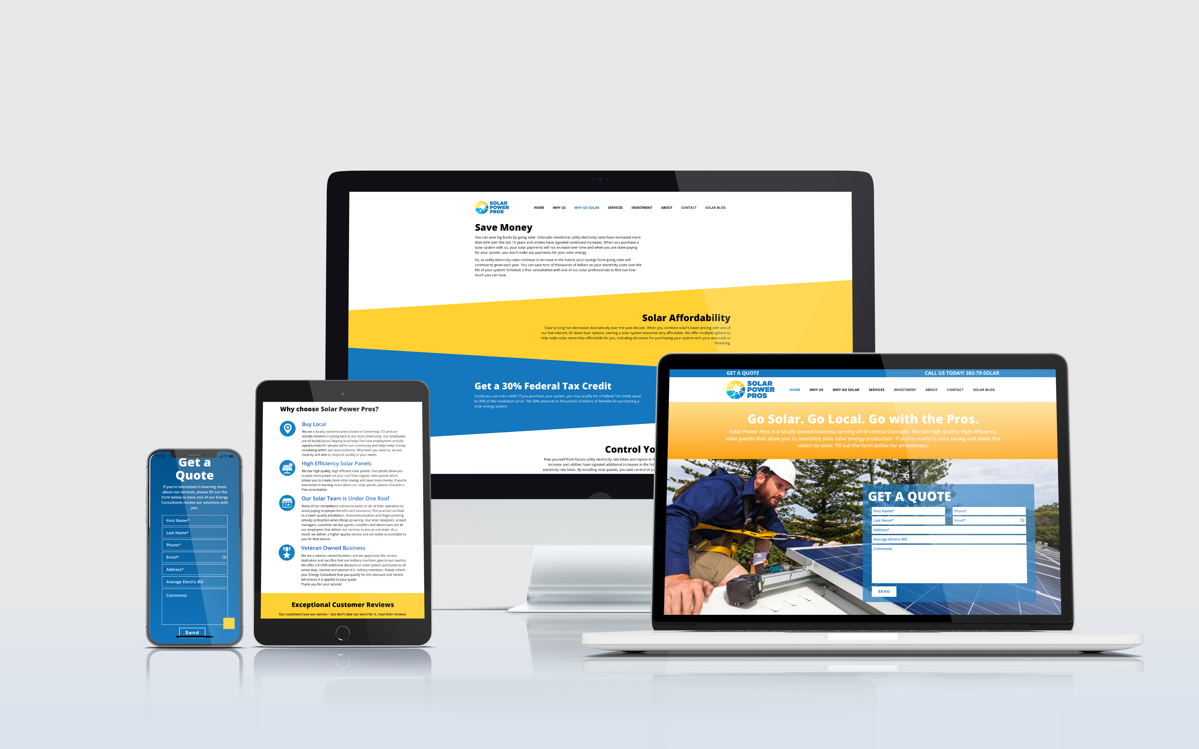 Solar Power Pros website displayed on multiple devices