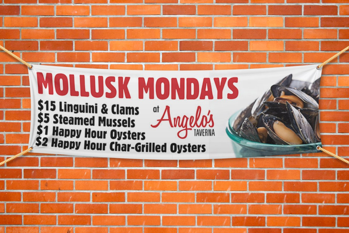 Angelo's Taverna Banner Advertising Mollusk Monday's hanging from a brick wall