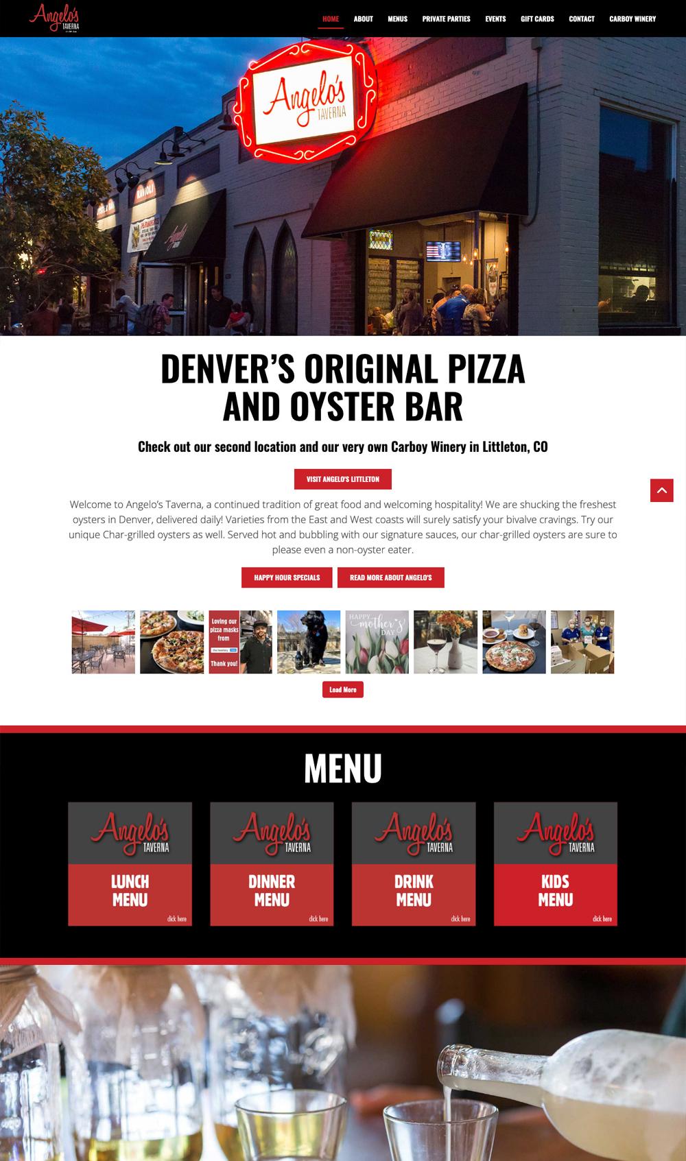 Angelo's Taverna website homepage screenshot