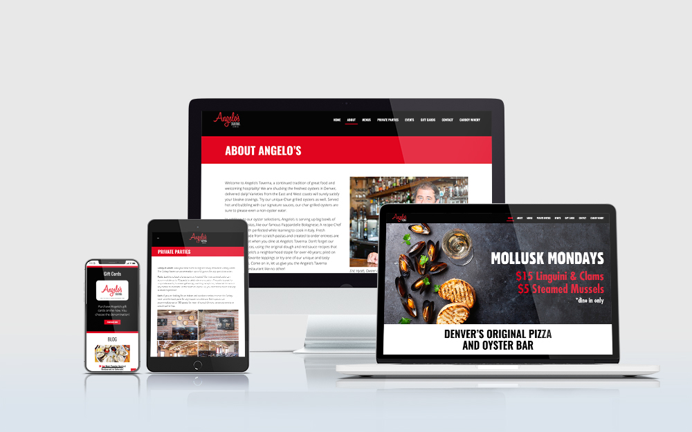 Angelo's Taverna website displayed on multiple devices