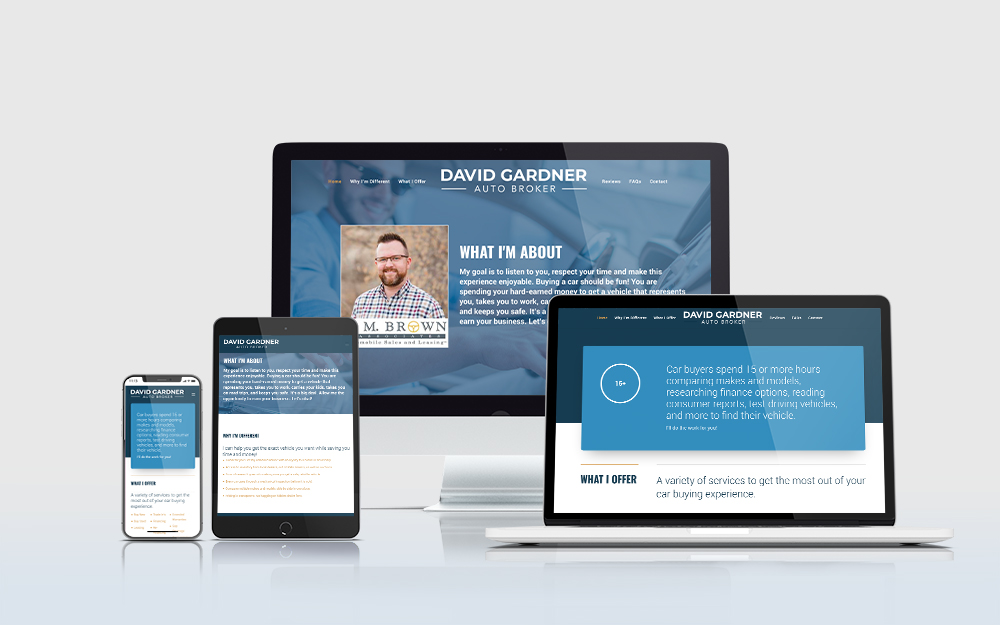 David Gardner Auto Broker website displayed on multiple devices