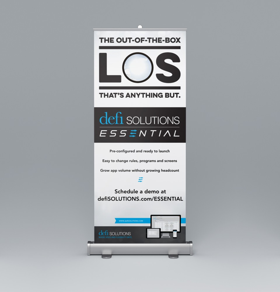 Stand up retractable banner for Defi Solutions LOS