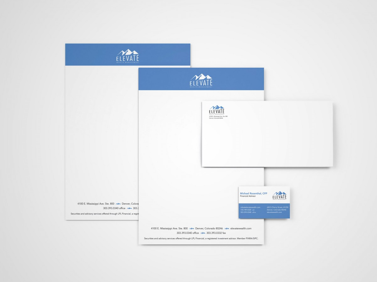 Elevate Wealth Management letterhead, envelop and business card design
