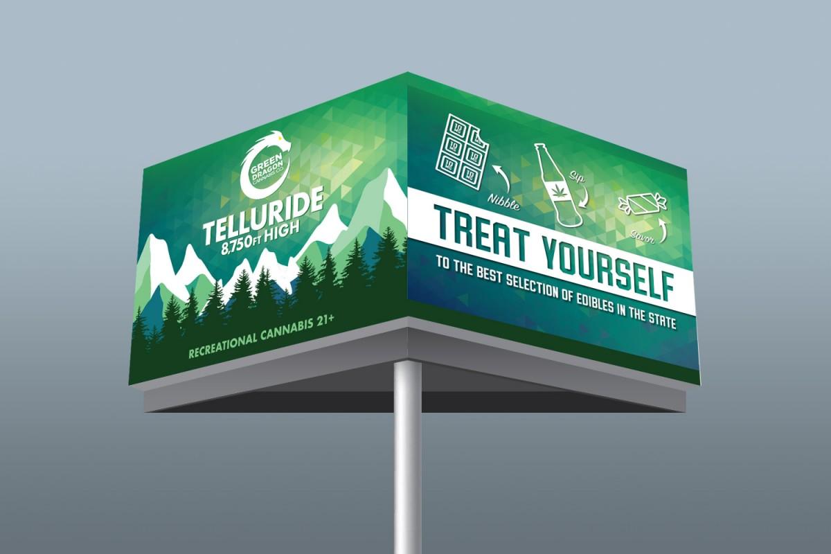 Green Dragon Cannabis Billboard Design Shown as a Mockup on Two sides