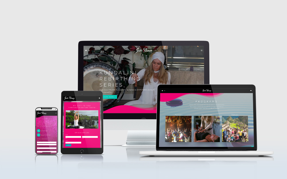 Jacki Brown Yoga website displayed on multiple devices