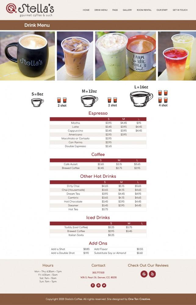 Stella's Coffee Haus Website Menu Page Screenshot