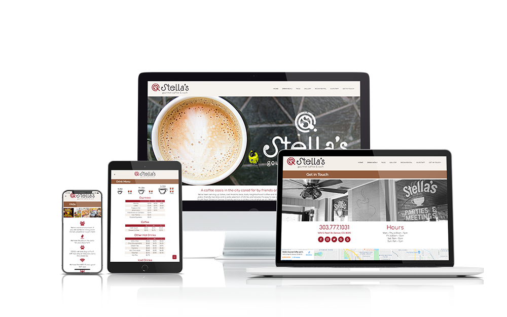 iMac Desktop Computer, Macbook Laptop, iPad and iPhone showing the Stella's Coffee Haus Website