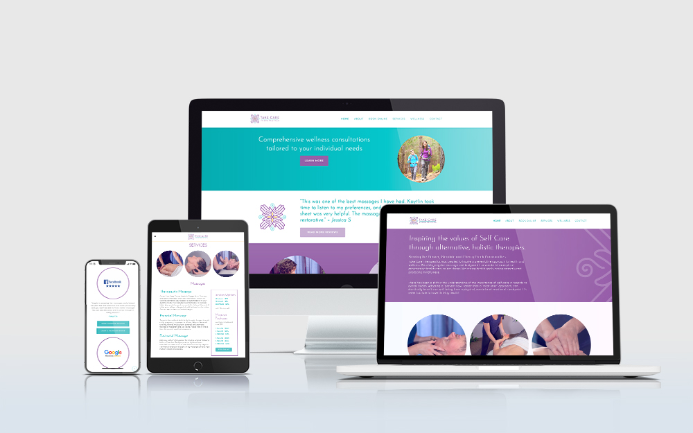 Take Care Therapeutics website displayed on multiple devices