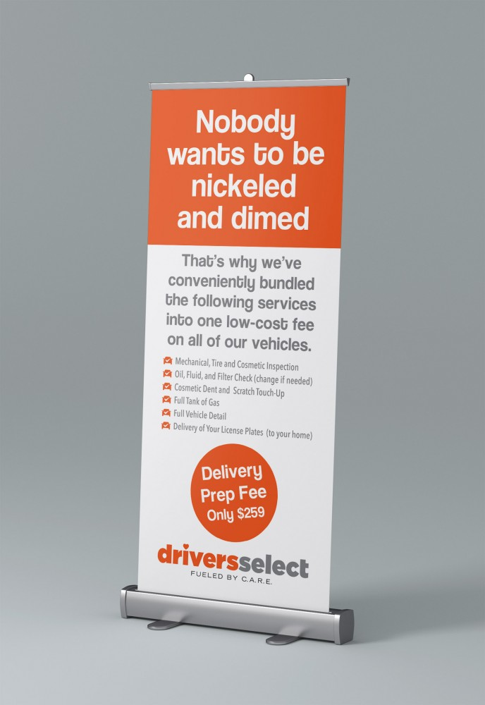Stand up retractable banner for DriversSelect