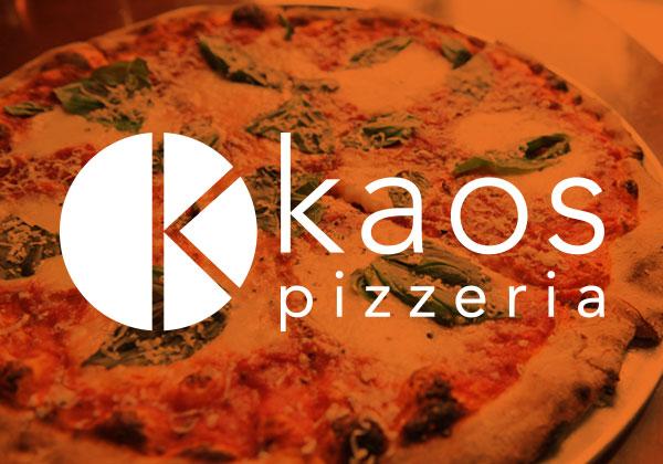 Kaos Pizzeria logo over an orange photo of pizza
