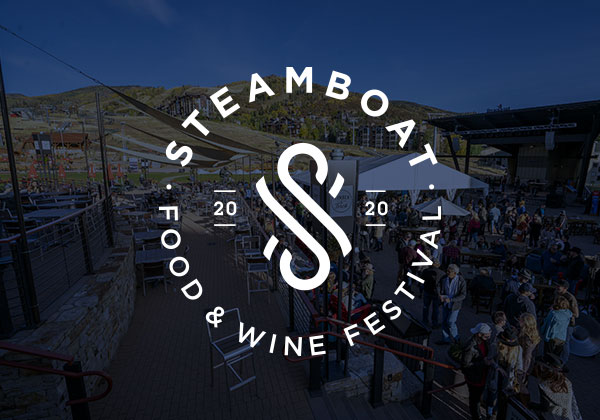 Steamboat Food & Wine Festival logo over a darkened photo the festival